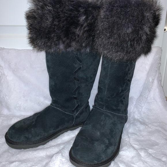 UGG Shoes   Black Furry Boots   Poshmark